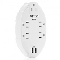 BESTTEN 5-Outlet Surge Protector with 2 USB Charging Ports, Wall Tap Adapter Splitter, Multi-Plug Extended Multipliers, ETL Certified, White