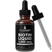 Liquid Vegan Biotin Drops 5000 MCG by Hair Thickness Maximizer. 30 to 60 Servings for Stronger, Thicker Hair. Made in USA. Combat Hair Loss and Thinning Hair. High Absorption