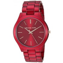 Michael Kors Women's Slim Runway Quartz Watch with Stainless-Steel-Plated Strap, red, 20 (Model: MK3895)