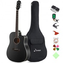 "Donner DAG-1CB Black Beginner Acoustic Guitar Full Size, 41"" Cutaway Guitar Bundle with Gig Bag Tuner Capo Picks Strap String"