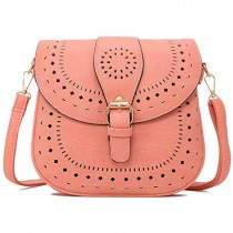Forestfish Ladie's PU Leather Vintage Hollow Bag Crossbody Bag Shoulder Bag (Light Pink)