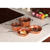 Kitchen Academy Red Ceramic Hammered 6 Piece Nonstick Induction Cookware Set