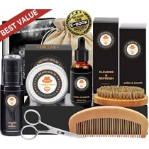 Upgraded Beard Grooming Kit w/Beard Growth Oil,Beard Balm,Beard Shampoo/Wash,Beard Brush,Beard Comb,Beard scissors,Storage Bag,Beard E-Book,Beard Care Grooming Gifts for Men