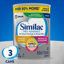Similac Pro-Advance Non-GMO Infant Formula with Iron, with 2'-FL HMO, for Immune Support, Baby Formula, Powder, 36 Oz, Pack of 3 (One-Month Supply)- Packaging May Vary