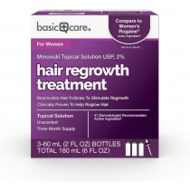 Basic Care Hair Regrowth Treatment For Women, Minoxidil Topical Solution, 2%, 6 Fluid Ounces
