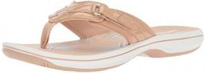 Clarks Women's Breeze Sea Flip Flop, nude synthetic patent, 10 B(M) US
