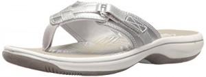 Clarks Women's Breeze Sea Flip Flop, New Silver Synthetic, 11 B(M) US