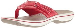 Clarks Women's Breeze Sea Flip Flop, New Red Synthetic, 11 B(M) US