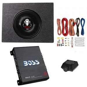 Boss 1200W Subwoofer + Q Power Truck Enclosure + Boss 1100W A/B Amplifier